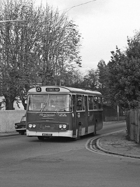 Gosport & Fareham 46 MHO 195F Bus 1969 Bury Rd/ Foster Rd/ Gordon Rd Gosport Hants by Roger Cox