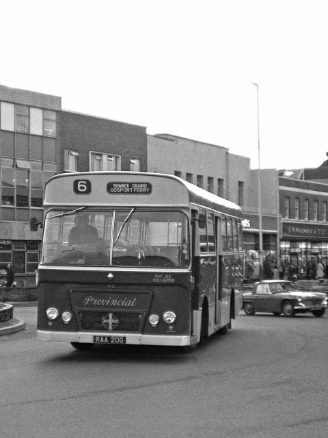 Gosport & Fareham 52 RAA 20G Bus 1969 Ferry Roundabout Gosport Hants by Roger Cox