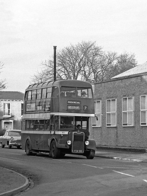 Gosport & Fareham 63 FCR 119 Bus 1969 Bury Rd/Foster Rd, Building on Right Telephone Exchange, Building to the Rear Abingdon Houseby Roger Cox