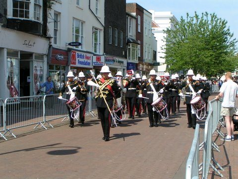 Royal Marine Band March Down High St Gosport Hants distance Falklands 3rd June 2007-By Adrian Newton
