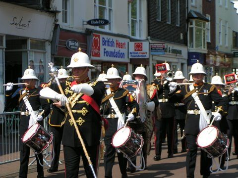 Royal Marine Band March Down High St Gosport Hants middle Falklands 3rd June 2007-By Adrian Newton