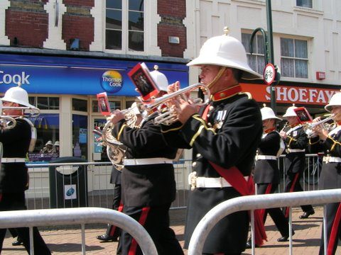 Royal Marine Band March Down High St Gosport Hants close Falklands 3rd June 2007-By Adrian Newton