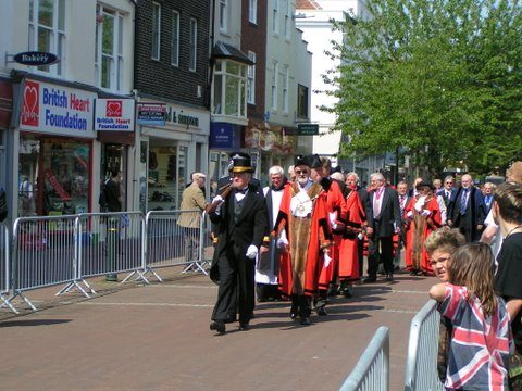 Mayor and Councilors March Down High St Gosport Hants Falklands 3rd June 2007 - By Adrian Newton