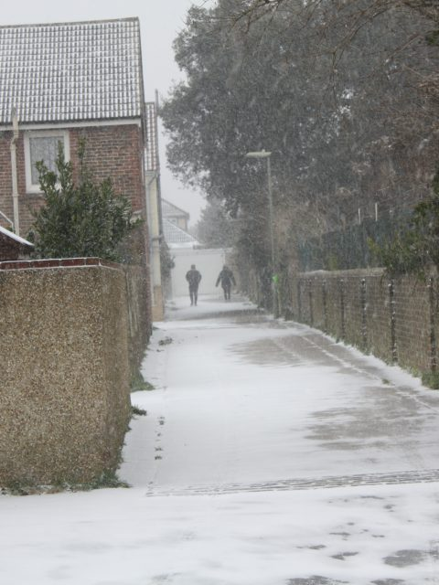 Snow in Gosport Hampshire Alley between Tribe Road and Vernon Rd 1st March 2018 by T Newton